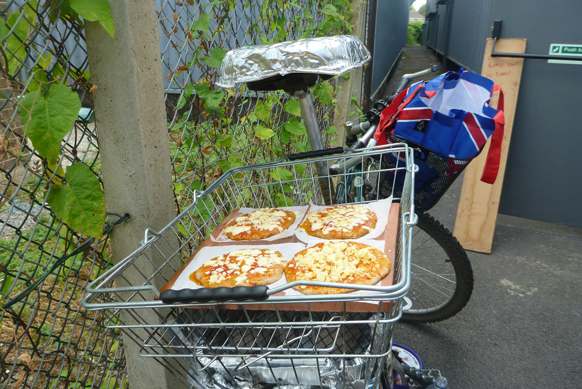 The Pizza Bike arriving in the back streets of Melksham